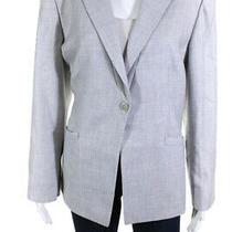 Armani Collezioni Womens Cashmere Single Button Blazer Light Gray Size 16 Photo