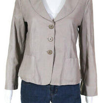 Armani Collezioni Womens Leather Embossed Three Button Blazer Taupe Brown Size 8 Photo