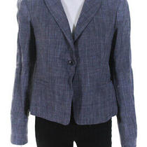 Armani Collezioni Womens Long Sleeve Button Blazer Blue Size 8 Photo