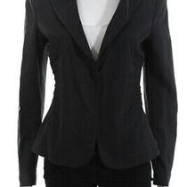 Armani Collezioni Womens Long Sleeve v Neck One Button Blazer Gray Size 8 Photo