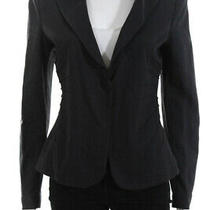 Armani Collezioni Womens Long Sleeve v Neck One Button Blazer Gray Size 8 Photo