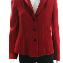 Armani Collezioni Womens Long Sleeve v Neck Three Button Blazer Red Size 8 Photo