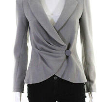 Armani Collezioni  Womens One Button Pleated Front Blazer Grey Size 6 Photo