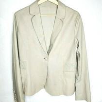 Armani Collezioni Womens Size 12 Leather Jacket Blazer Gray Collar Photo