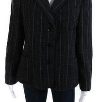 Armani Collezioni Womens Striped Blazer Jacket Gray White Wool Size 16 Photo
