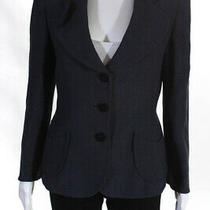 Armani Collezioni Womens Three Button Notched Lapel Blazer Blue Size 8 Photo