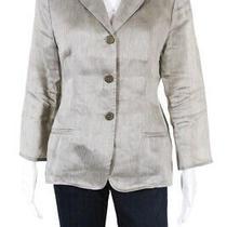 Armani Collezioni Womens Three Button Notched Lapel Blazer Gray Linen Size 10 Photo