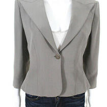 Armani Collezioni Womens v-Neck Button Up Cropped Blazer Jacket Gray Size 8 Photo