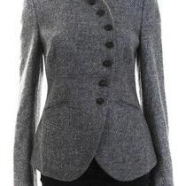 Armani Collezioni Womens Wool Long Sleeve High Neck Blazer Gray Size 8 Photo