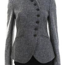 Armani Collezioni Womens Wool Long Sleeve High Neck Blazer Gray Size 8 Photo