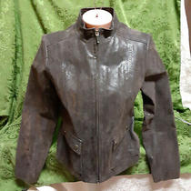 Armani Dark Brown Leather Zip Front Lined Jacket M 40 2 Snap Front Pockets New Photo