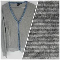 Armani Exchange A/x Medium Button Up Men's Sweater Cardigan Gray Striped Photo