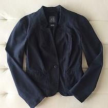 Armani Exchange Ax Modern Dark Denim Modern Structured Blazer Jacket Sz Xs 0/2 Photo