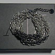 Armani Exchange A/x  Silver Band Black Flag Bracelet Authentic Photo