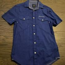 Armani Exchange Ax Short Sleeve Casual Blue Button Down Shirt Stylish Xs X-Small Photo