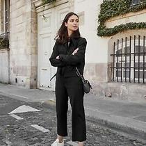 Armani Exchange Ax Womens Black Bomber Crop Zip Up Chore Jacket Size M Pocket Photo