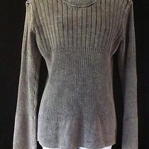 Armani Exchange Ax Womens M Sweater Granite Gray Cotton Shoulder Zipper Ribbed Photo
