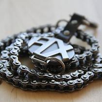Armani Exchange Bike Chain and Leather Skinny Metal Belt Photo