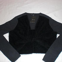 Armani Exchange Black and Grey Angora Rabbit Fur Shrug Size L Photo