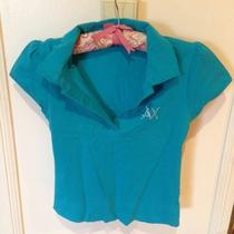 Armani Exchange Button Down Shirt Polo Sz Large Cotton Aqua Blue Ax Photo