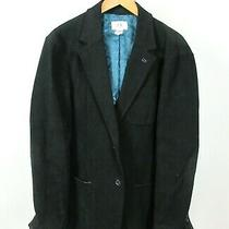 Armani Exchange Cotton Leather Trimmed Blazer Jacket Navy Blue Sz L Dual Vent Photo