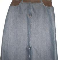 Armani Exchange Denim/micro-Suede Trim Skirt  Sz. 10 Photo