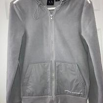 Armani Exchange Gray/silver Velour Reflective Zip Front Jacket Womens Xs Photo