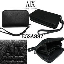 Armani Exchange Iphone Case/wristlet Wallet Blk Embossed Leather E5sa887 Photo