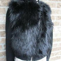 Armani Exchange Knit W/ Faux Fur Full Zip Cardigan Sweater Jacket Black Sz Xs Photo