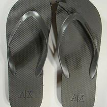 Armani Exchange Men's Gray Metal Plate Flip Flops 12 Nwt Photo