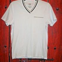 Armani Exchange Men's v-Neck T-Shirt White Size S Photo