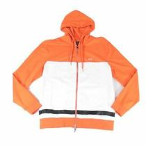 Armani Exchange Men Sweater Orange Size Xl Colorblock Full-Zip Hooded 120- 317 Photo