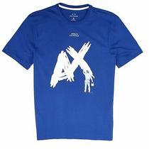 Armani Exchange Mens T-Shirt White Blue Size Medium M Painted Logo 40 280 Photo