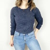 Armani Exchange Navy Blue Burnout Full Zip 3/4 Sleeve Athletic Jacket Size Xs Photo