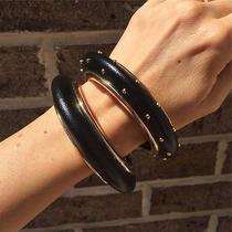 Armani Exchange New Womens Bracelet A/x Black and Gold Double Bracelet Photo