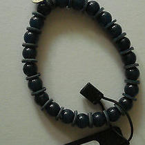 Armani Exchange Stretch Beaded Leather Bracelet Blue New With Tag in orig.box Photo