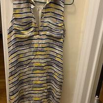 Armani Exchange Stripe Silk Shirt Dress Yellow/blue - Size S Photo