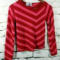 Armani Exchange Sweater Stripe Red Asymmetrical Neck Angora Cotton Size S Photo