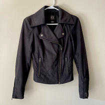 Armani Exchange Womens Size Xs Snake Print Asymmetrical Zip Moto Jacket Lined Photo