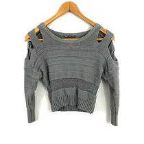 Armani Exchange Womens Cropped Sweater Size S Small Gray Chunky Knit  Photo