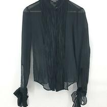 Armani Exchange Womens Sheer Long Sleeve Cuff Ties High Neck Black Blouse Size S Photo