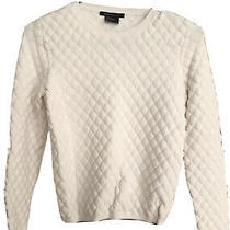 Armani Exchange Womens Sweater Ivory White Size Xs Textured Pullover 120 374 Photo