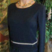 Armani Jeans(42/m)elegant Wool-Silk Sweater Navy blue.golden trim&golden Buttons Photo