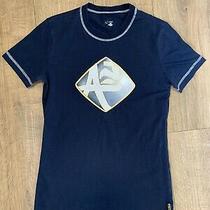 Armani Jeans Aj Rare Patch Logo Badge Mens Blue Cotton T Shirt F6h43na Sz Small Photo