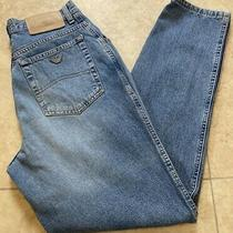 Armani Jeans Blue Power Vintage Old School Fit Mum Size 27 X 30 Made in Italy  Photo