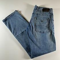Armani Jeans Comfort Fabric Slim Fit Stretch Blue Button Size 33 See Measurement Photo