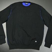 Armani Jeans Cotton Mix Crewneck Designer Solid Black Sweater Size Xl Photo