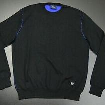 Armani Jeans Cotton Mix Crewneck Designer Solid Black Sweater Size Xl Photo