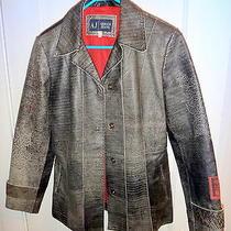 Armani Jeans Gray Distressed Leather Tattoo Jacket/blazer Sz. 6 Photo