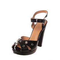 Armani Jeans Leather Sandals Size 40 Uk 7 Us 10 High Heel Patent Photo